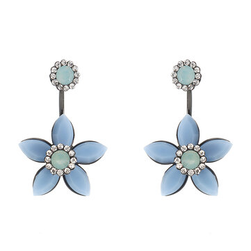 JASSY® Elegant 18K Gold Plated White Opal Rhinestones Flower Semi Precious Stone Earrings