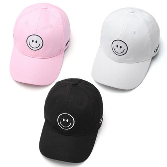 Women Cotton Smile Face Embroidery Letter Sport Cap Men Strap Back Trucker Baseball Hat