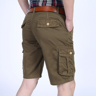 Mens Multi-pocket Outdoor Knee-Length Cargo Shorts