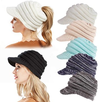 Fashion Womens Thicken Knitted Ponytail Beanie Caps Cotton Earmuffs Stretch Messy High Bun Hat