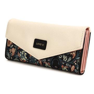 Women PU Leather Envelope Long Wallet Button Clutch Bag Card Holder
