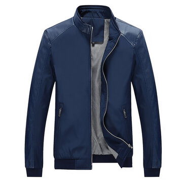 Mens Casual Slim Warm Windproof Solid Color Faux Leather Splice Jacket
