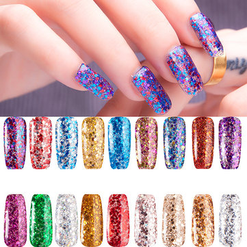 Glitter Sequins Nail Gel Polish Colorful UV LED Soak Off Colorful Diamond Shiny 10ml