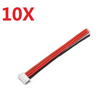 10PCS 2.54XH 22AWG 13CM 3S 4Pin Balance Cable Silicone Wire for Lipo Batteries