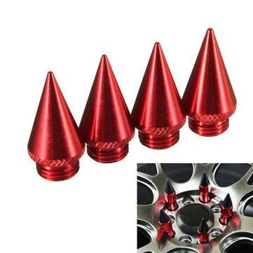 4PCs Four Red 30mm Extended Tuner Spikes For Lug Nuts Wheels/Rims Aluminum 7075