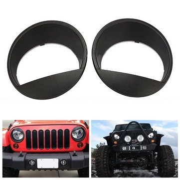 For 07-15 Jeep Wrangler JK Angry Bird Style Matte Black Headlight Cover Bezel Eyelids