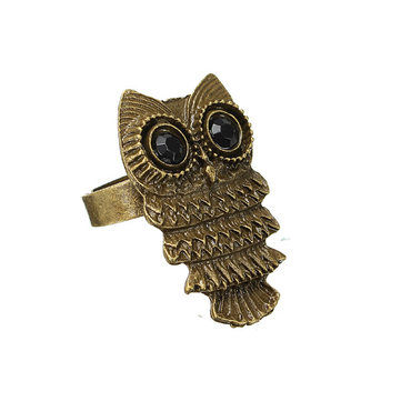 Vintage Bronze Silver Lovely Owl Alloy Finger Ring Women Jewelry