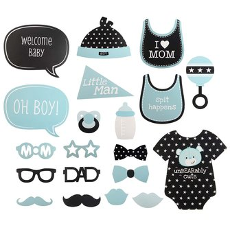 20Pcs Baby Shower Photo Booth Props Blue New Born Boy Little Man Wedding Party Decorations