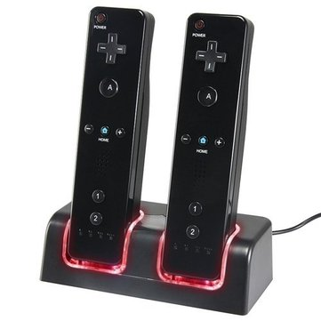 New Charger Dock + 2 x Battery for Nintendo Wii Remote