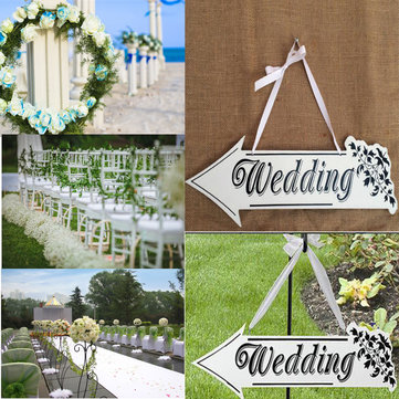 White Wood WEDDING Sign Arrow Vintage Hanging Plaque Wedding Party Venue Decoration