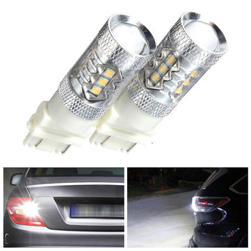 Pair 3157 High Power 80W 6000K Super White LED Back up Reverse Lights Bulbs