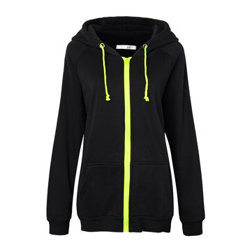 Women Zipper Solid Drawstring Long Sleeve Hooded Sweatshirt