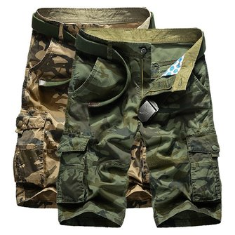 Mens Casual Cotton Blend Large Size Multi Pocket Military Camouflage Cargo Shorts