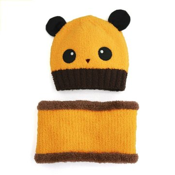 Baby Toddler Girls Boys Winter Panda Beanie Hat Hooded Scarf Knitted Wool Cap