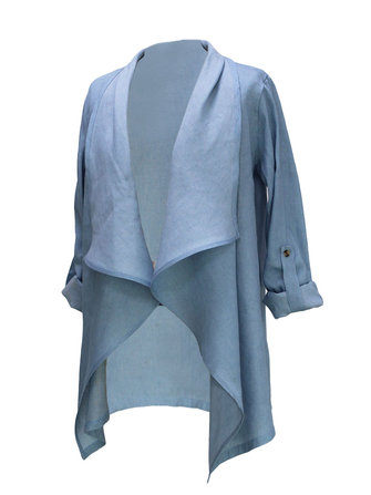 Casual Denim Blue Long Sleeve Women Loose Cardigan