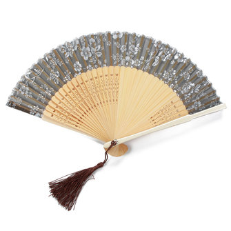 Handmade Chinese Folding Bamboo Silk Flower Pattern Hand Fan Dance Party Wedding Prom