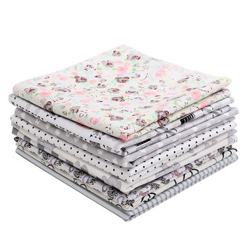 9PCS DIY Grey Handmade Cotton Plain Fabric Craft Batiks Cloth Assorted Square Quilting Set