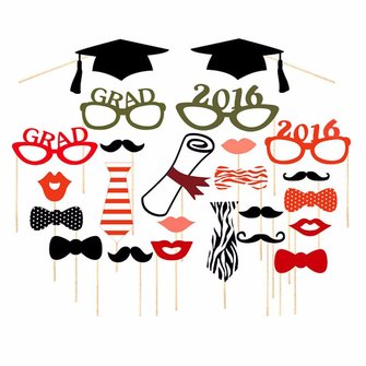 24Pcs Commencement Party Photo Mustache Stick Booth Prop Mask Wedding Party Decoration