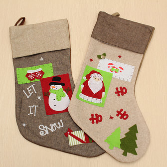 Christmas Gift Socks Bags Santa Claus Snowman Pattern Linen Hanging Stockings