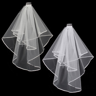 2 Layers Bride White Beige Wedding Bridal Elbow Hemmed Satin Edge Veil With Comb