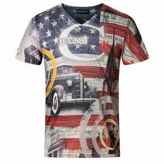Mens Cotton Blend American Flag Printed V Neck Short Sleeved T-shirts