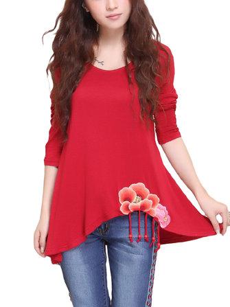Folk Style Women O Neck Long Sleeve Embroidered Irregular T-shirt