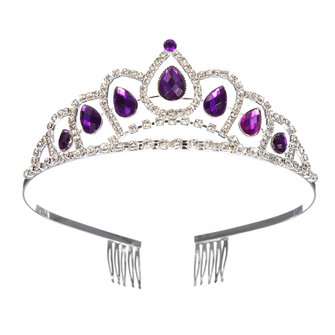 Bride Purple Diamond Crystal Rhinestone Crown King Queen Tiara Wedding Party Headpiece With Comb