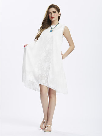 Women Elegant Sleeveless Flower Jacquard High Low Linen Dress