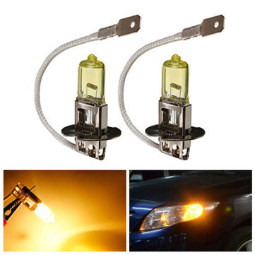 2X H3 Super Yellow 5900K Car Fog Xenon Gas Halogen Headlight Lamp