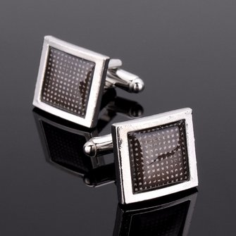 Men Grid Square Pattern Silver Alloy Cuff Links Wedding Party Gift Shirt Accessories