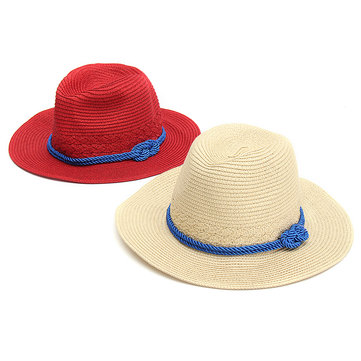 Women Ladies Rope Straw Hats Summer Beach Sun Cap Floppy Wide Brim Foldable Panama Hat