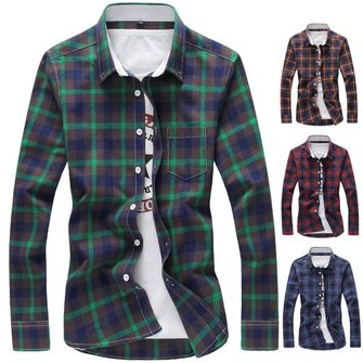 Mens Quality Plaid Shirt Cotton Large Size Long Sleeve Shirts