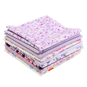 10PCS DIY Purple Handmade Cotton Plain Fabric Craft Batiks Cloth Assorted Square Quilting Set