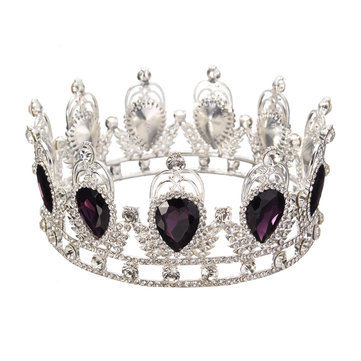 Bride Purple Diamond Sparkling Crystal Rhinestone Crown King Queen Tiara Wedding Party Headpiece