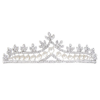 Bridal Faux Pearl Crystal Rhinestone Hair Accessories Bride Crown Tiara Wedding Headpiece