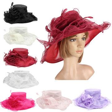 Mulheres senhora igreja vestido de casamento Kentucky Derby grande chapéu flexível brim pena sol