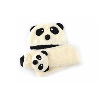 Winter Baby Girl Boy Warm Cute Panda Crochet Hat Cap Beanie Scarf Set Cartoon Neckerchief Skullies Wool Fleece