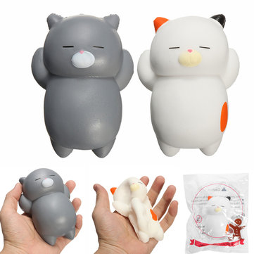 SquishyShop Sleeping Lazy Cat Soft Squishy Slow Rising With Packaging Collection Gift Decor Toy