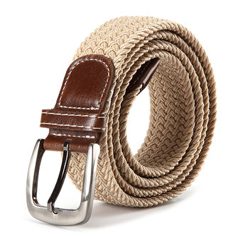 130CM Unisex Braided Elastic Woven Leather Stretchable Belt Trousers Pants Canvas Strip