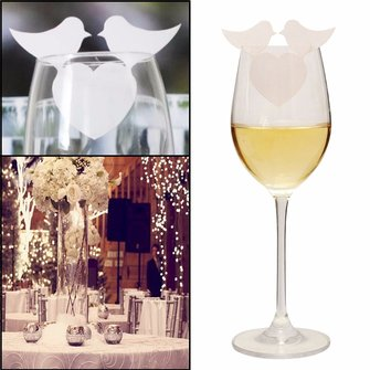40Pcs Bird Wedding Name Place Cards Wine Glass Laser Cut Pearlescent Card Party Accessories