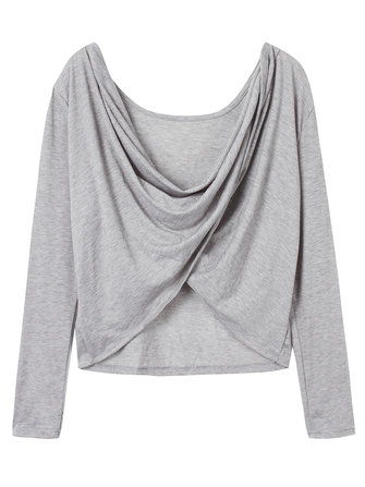 Sexy Long Sleeve Ruched Draped V Collar Backless Women Shirt