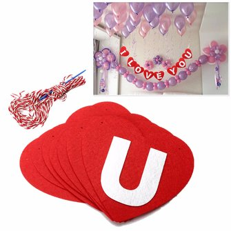 I LOVE YOU Red Heart Shape Wedding Banner Hanging Paper Garland Chain Party Bunting Decoration