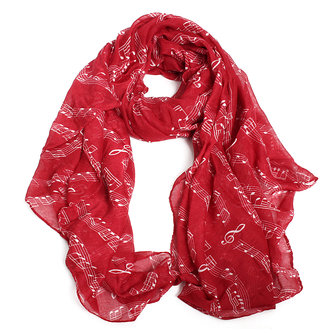 Women Ladies Scarf Chiffon Music Note Print Summer Shawls Square