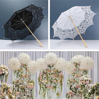 Battenburg laço nupcial guarda-chuva de algodão puro sol casamento bordados guarda-sol