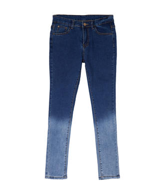 Vintage Women Blue Gradient Slim Pockets Long Denim Jeans