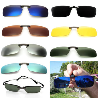 Men UV400 Eyewear Lens Polarized Clip On Sunglasses Lens Fishing Night Driving