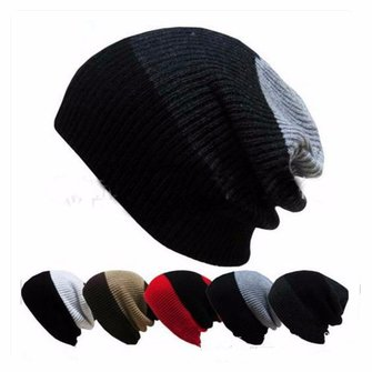 Unisex Men Women Knitted Skiing Baggy Cap Slouch Beanie Hat Sport Outdoor Elastic Cap