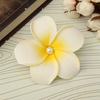 Hawaiian Plumeria Foam Flower Hair Clip Floral Pearl Headpiece For Women Girl