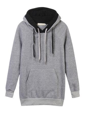 Velvet Drawstring Pocket Color Block Hood Pullover Sweatshirt
