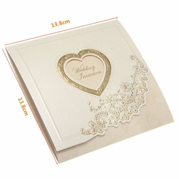 10Pcs Heart Flower Embossed Wedding Evening Invitations Cards Personalized Envelopes Seals